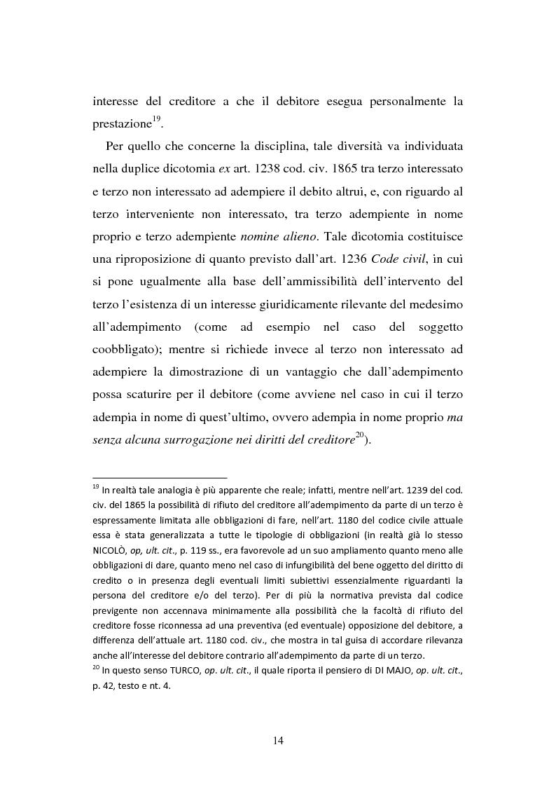 Anteprima della tesi: L'adempimento del terzo: struttura, disciplina e recupero della prestazione nella prospettiva dei rapporti trilateri, Pagina 15