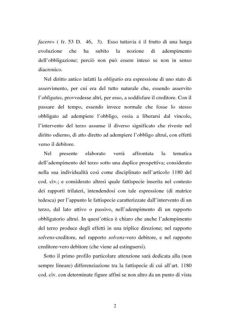 Anteprima della tesi: L'adempimento del terzo: struttura, disciplina e recupero della prestazione nella prospettiva dei rapporti trilateri, Pagina 3