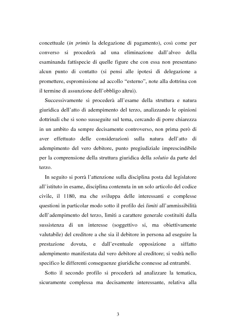 Anteprima della tesi: L'adempimento del terzo: struttura, disciplina e recupero della prestazione nella prospettiva dei rapporti trilateri, Pagina 4
