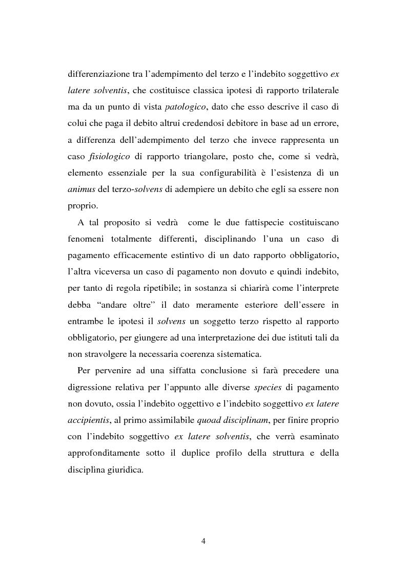 Anteprima della tesi: L'adempimento del terzo: struttura, disciplina e recupero della prestazione nella prospettiva dei rapporti trilateri, Pagina 5