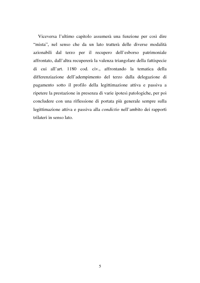 Anteprima della tesi: L'adempimento del terzo: struttura, disciplina e recupero della prestazione nella prospettiva dei rapporti trilateri, Pagina 6