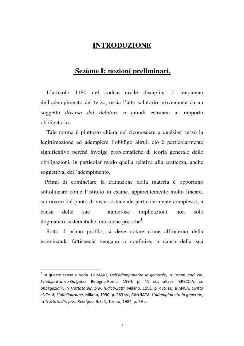 176c8377fb Anteprima della tesi: L'adempimento del terzo: struttura, disciplina e  recupero della. «