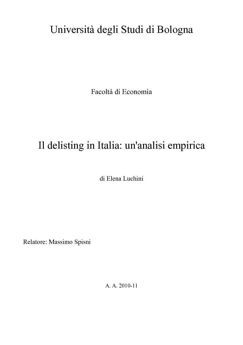 Anteprima della tesi: Il delisting in Italia: un'analisi empirica, Pagina 1