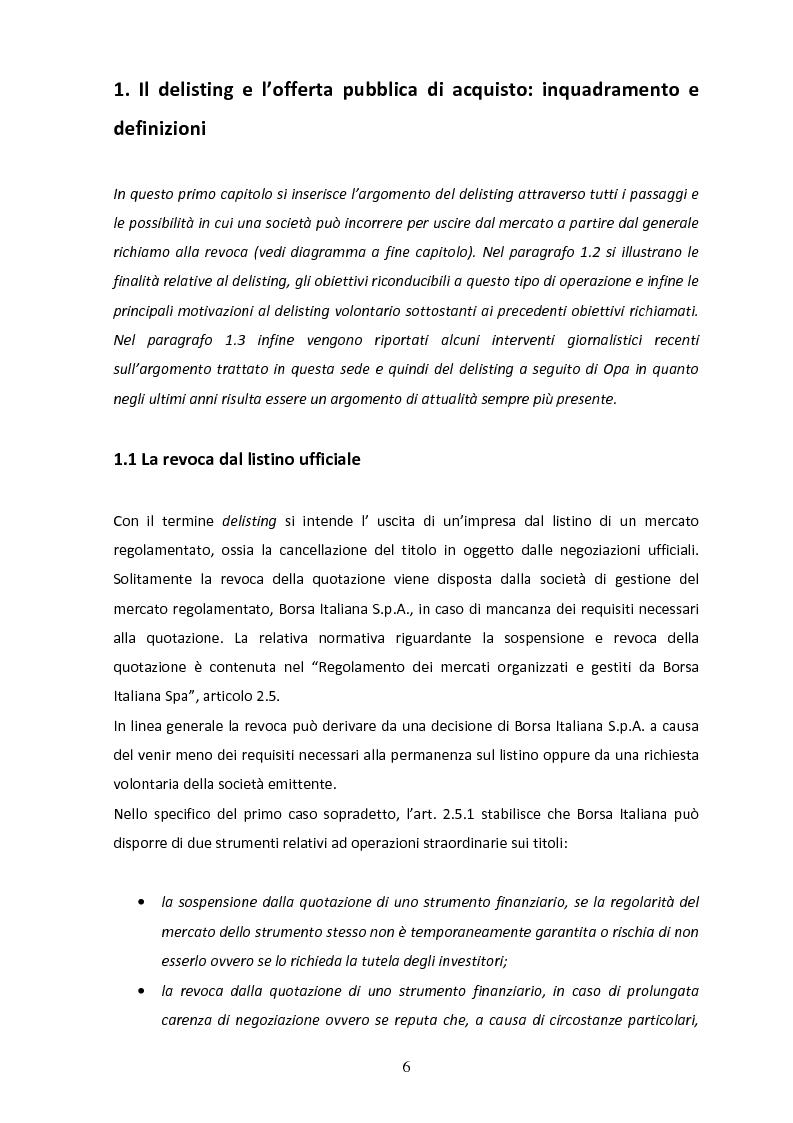 Anteprima della tesi: Il delisting in Italia: un'analisi empirica, Pagina 4
