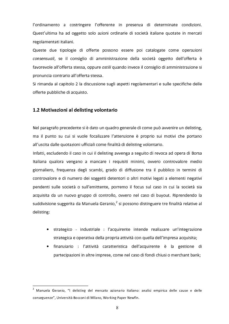 Anteprima della tesi: Il delisting in Italia: un'analisi empirica, Pagina 6