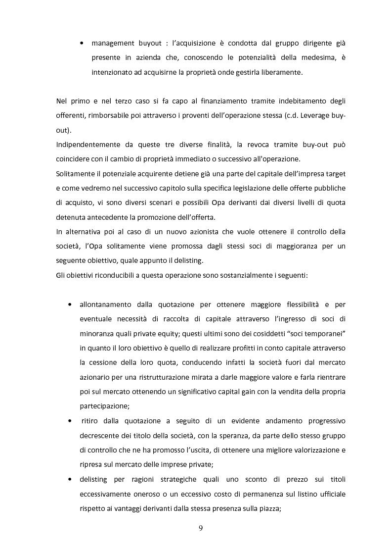 Anteprima della tesi: Il delisting in Italia: un'analisi empirica, Pagina 7