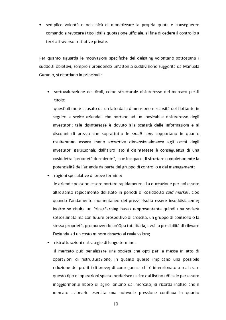 Anteprima della tesi: Il delisting in Italia: un'analisi empirica, Pagina 8