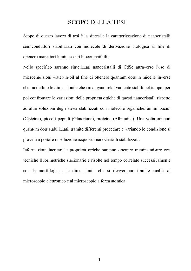 Anteprima della tesi: Preparazione di nanocristalli di semiconduttori come marcatori luminescenti biocompatibili, Pagina 2