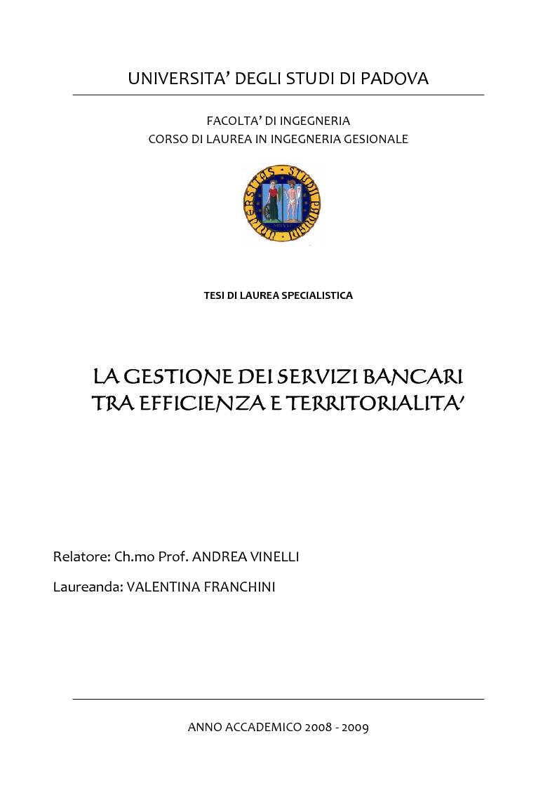 Anteprima della tesi: La gestione dei servizi bancari tra efficienza e territorialità, Pagina 1