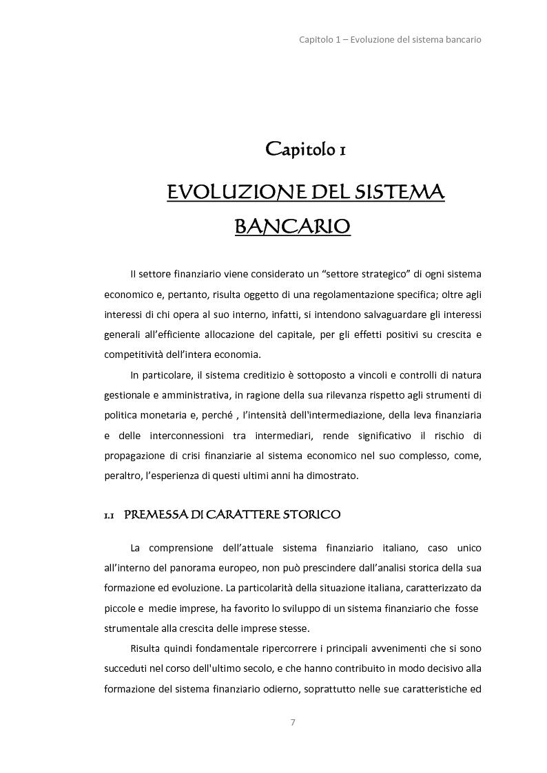 Anteprima della tesi: La gestione dei servizi bancari tra efficienza e territorialità, Pagina 4