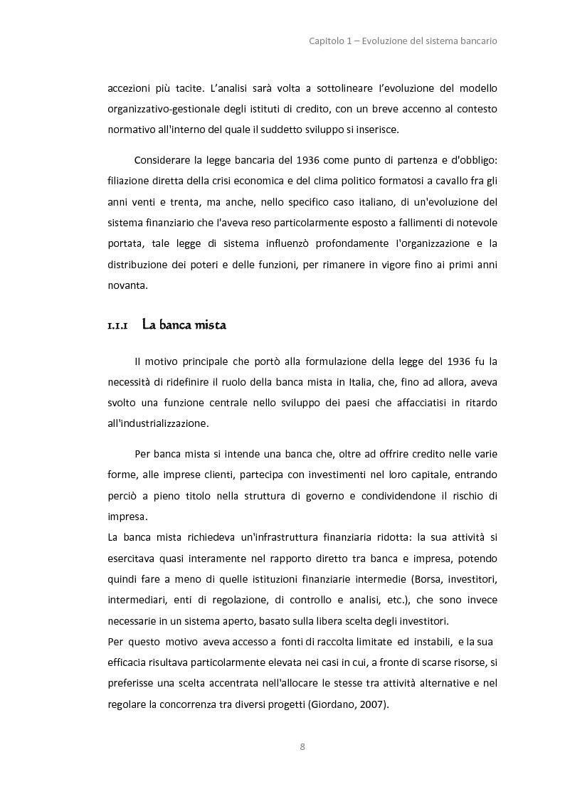 Anteprima della tesi: La gestione dei servizi bancari tra efficienza e territorialità, Pagina 5