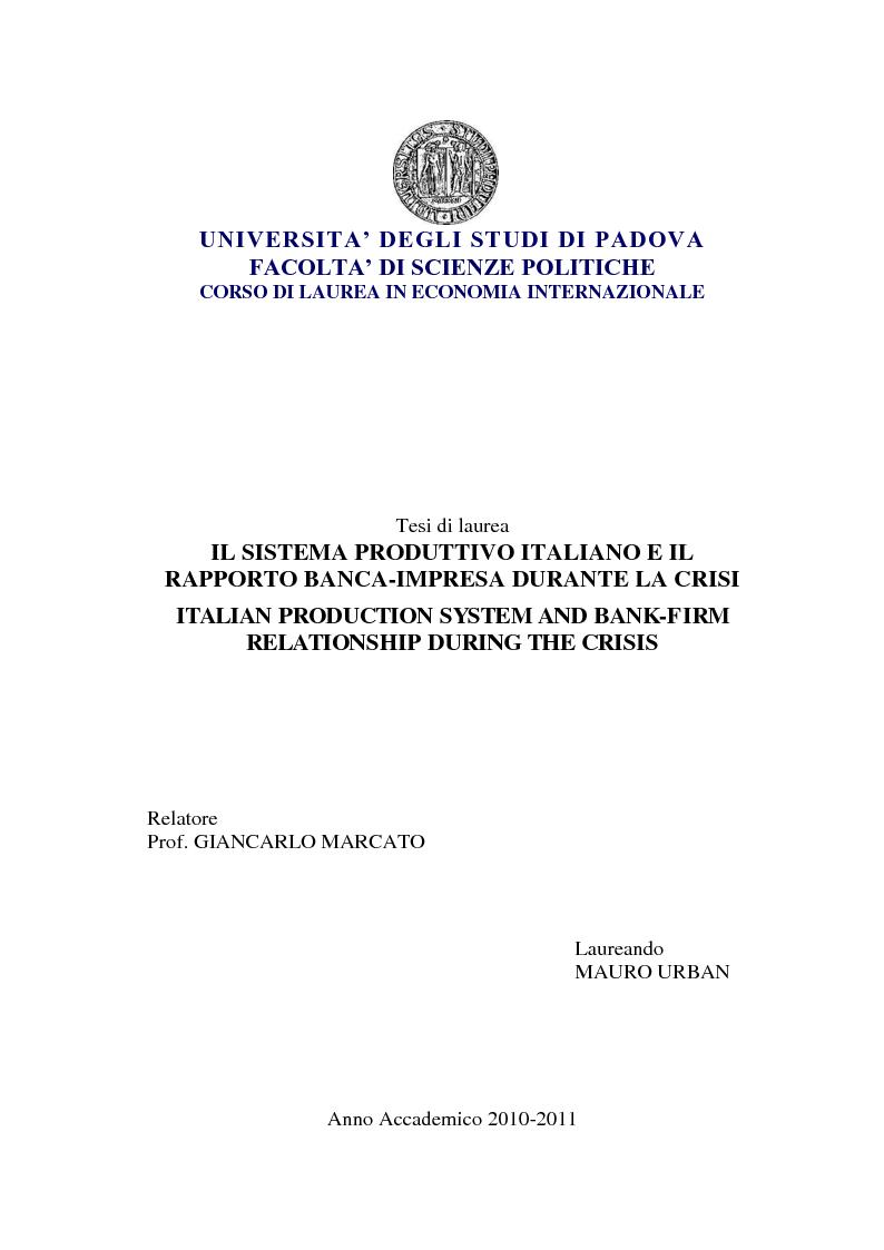 Anteprima della tesi: Il sistema produttivo italiano e il rapporto banca-impresa durante la crisi, Pagina 1