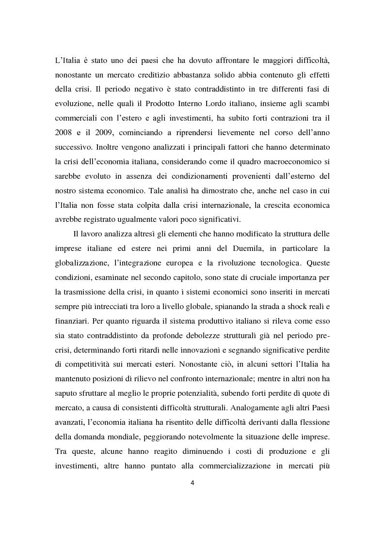 Anteprima della tesi: Il sistema produttivo italiano e il rapporto banca-impresa durante la crisi, Pagina 3