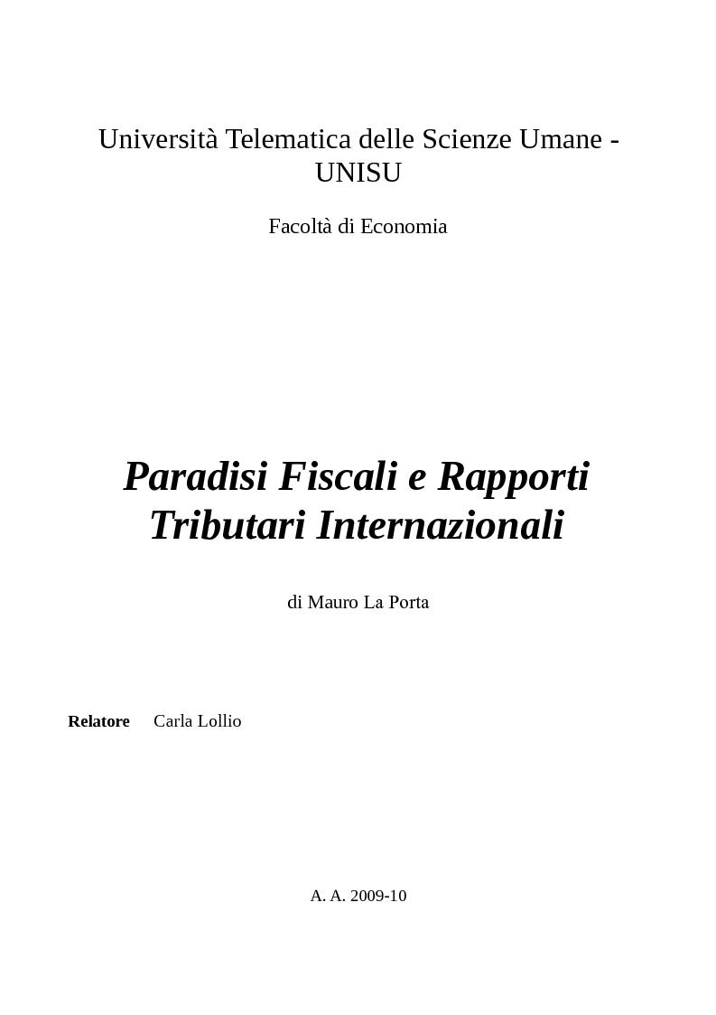 Anteprima della tesi: Paradisi Fiscali e Rapporti Tributari Internazionali, Pagina 1