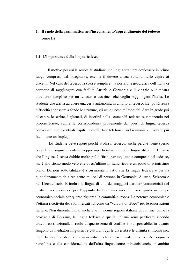 Anteprima della tesi: Il tedesco come lingua straniera nella scuola secondaria: grammatiche didattiche, Pagina 4