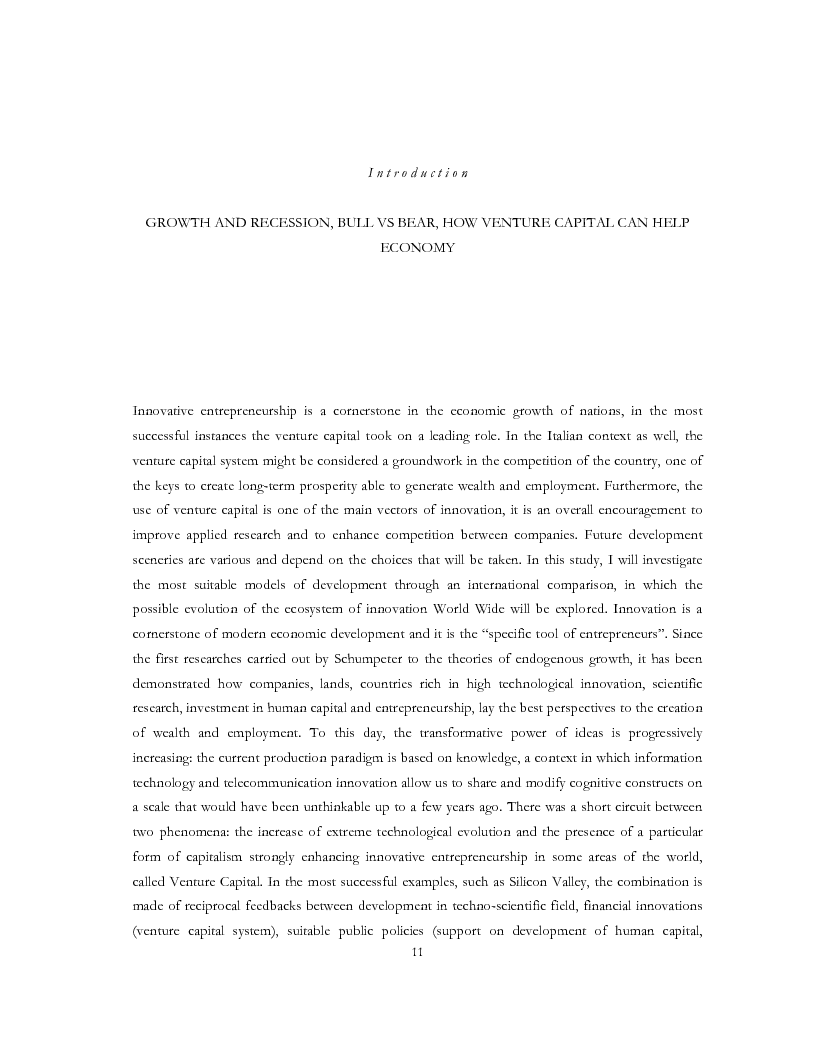 Anteprima della tesi: The evolution of Venture Capital and Private Equity Investment Models for the development: Europe, USA, and Israel Markets. ''Start Ups Boom'' starting to boostrap High Tech in the Universities, Pagina 2