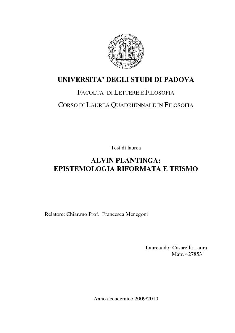 Anteprima della tesi: Alvin Plantinga: Epistemologia Riformata e Teismo, Pagina 1
