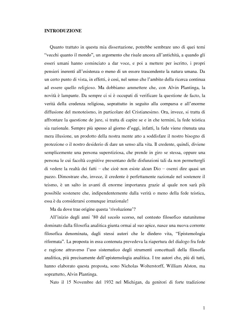 Anteprima della tesi: Alvin Plantinga: Epistemologia Riformata e Teismo, Pagina 2