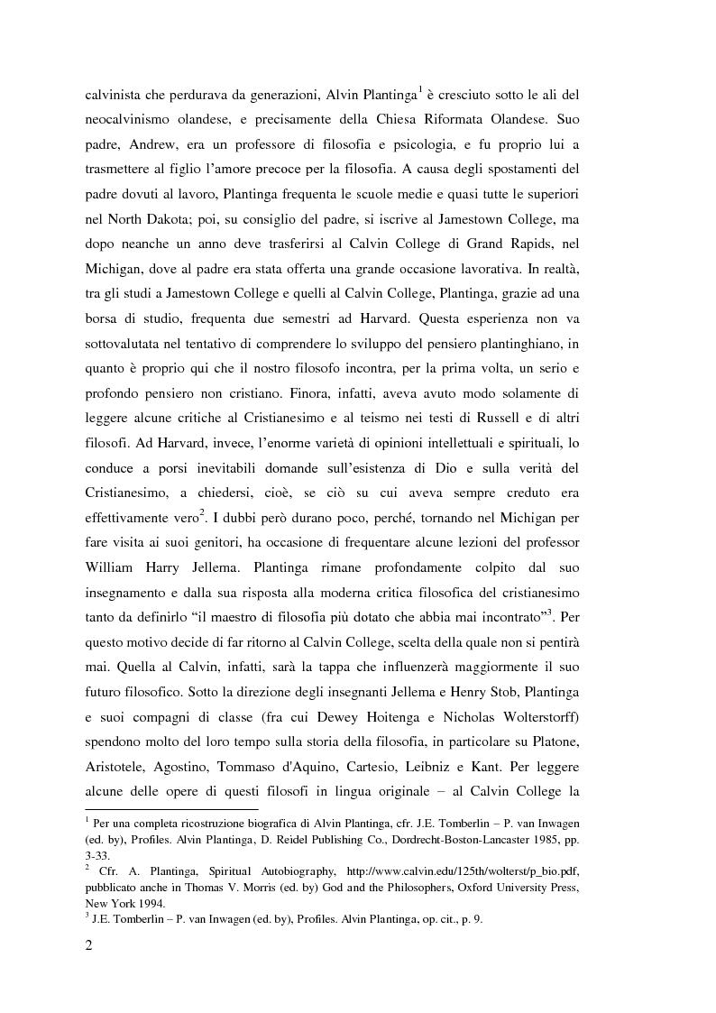 Anteprima della tesi: Alvin Plantinga: Epistemologia Riformata e Teismo, Pagina 3