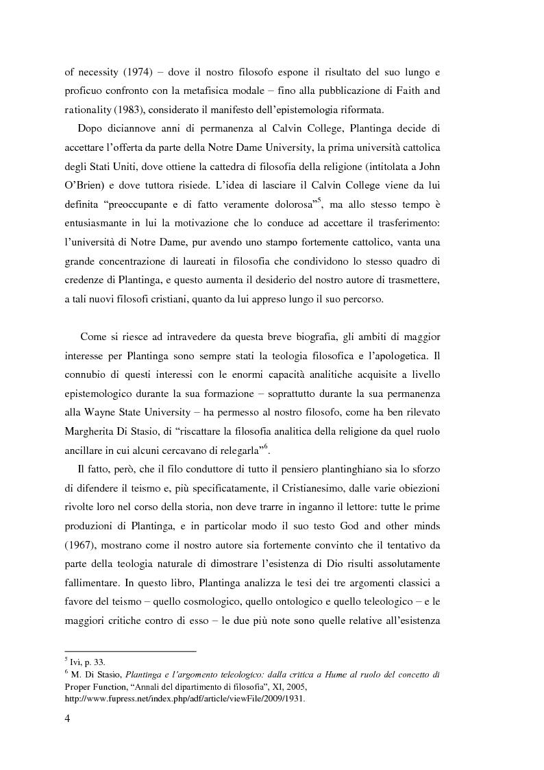 Anteprima della tesi: Alvin Plantinga: Epistemologia Riformata e Teismo, Pagina 5