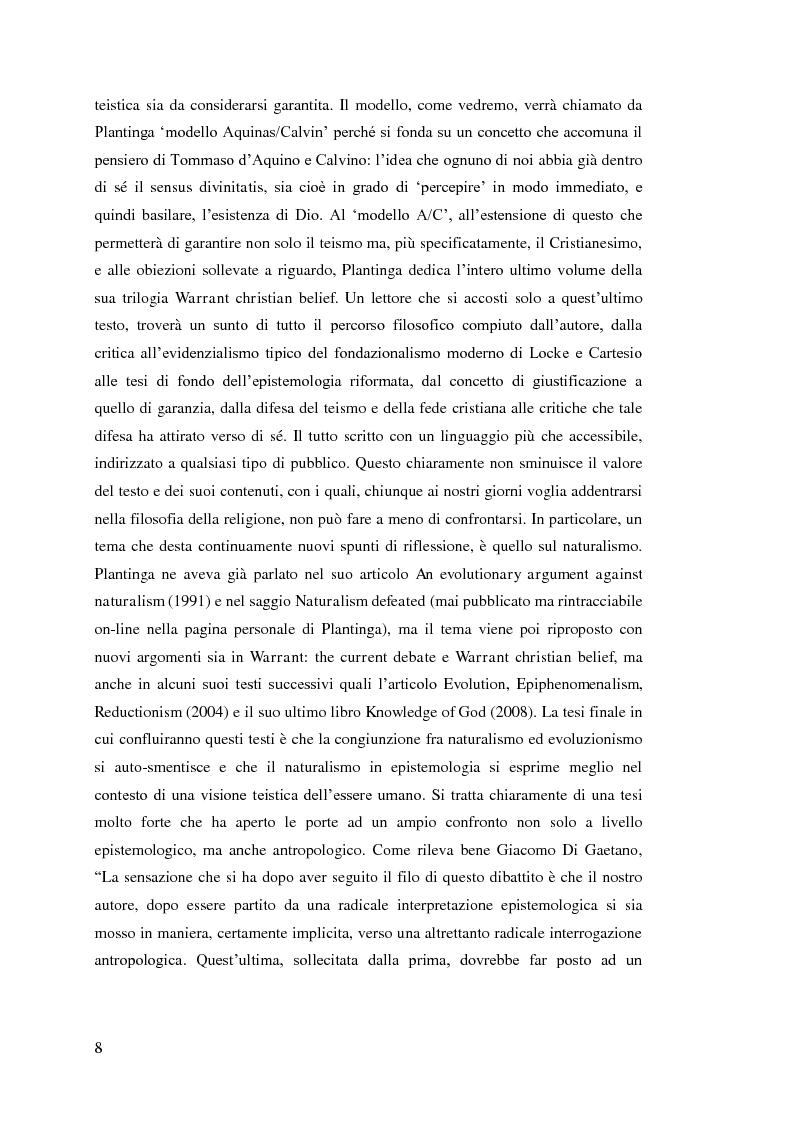 Anteprima della tesi: Alvin Plantinga: Epistemologia Riformata e Teismo, Pagina 9