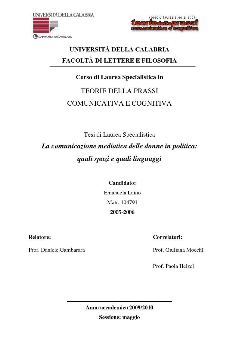 Anteprima della tesi: La comunicazione mediatica delle donne in politica: quali spazi e quali linguaggi, Pagina 1