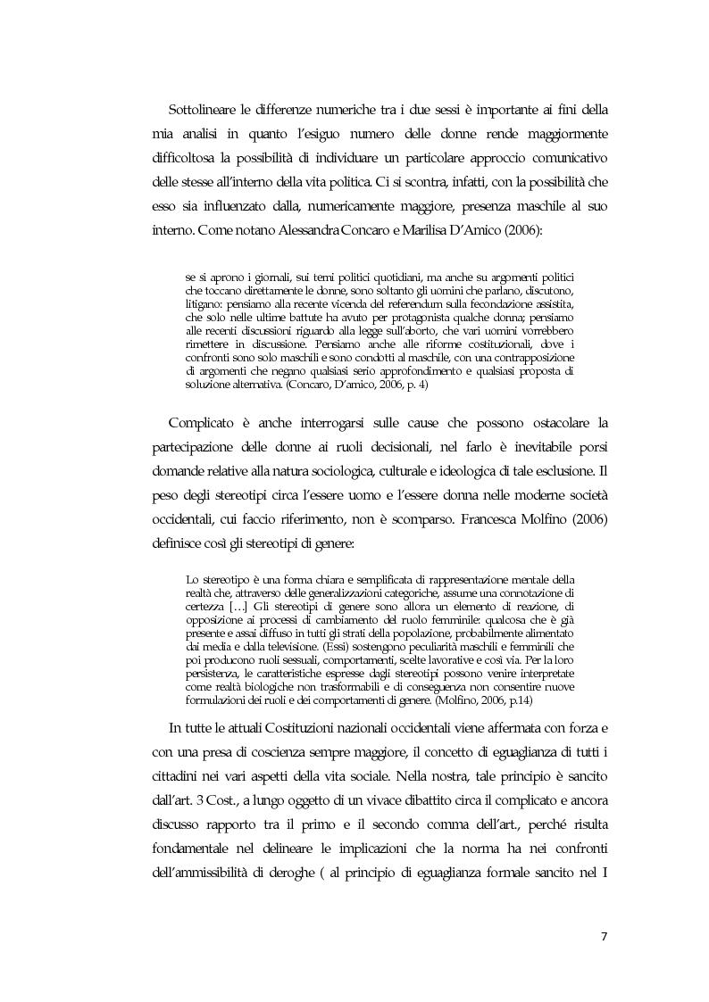 Anteprima della tesi: La comunicazione mediatica delle donne in politica: quali spazi e quali linguaggi, Pagina 3