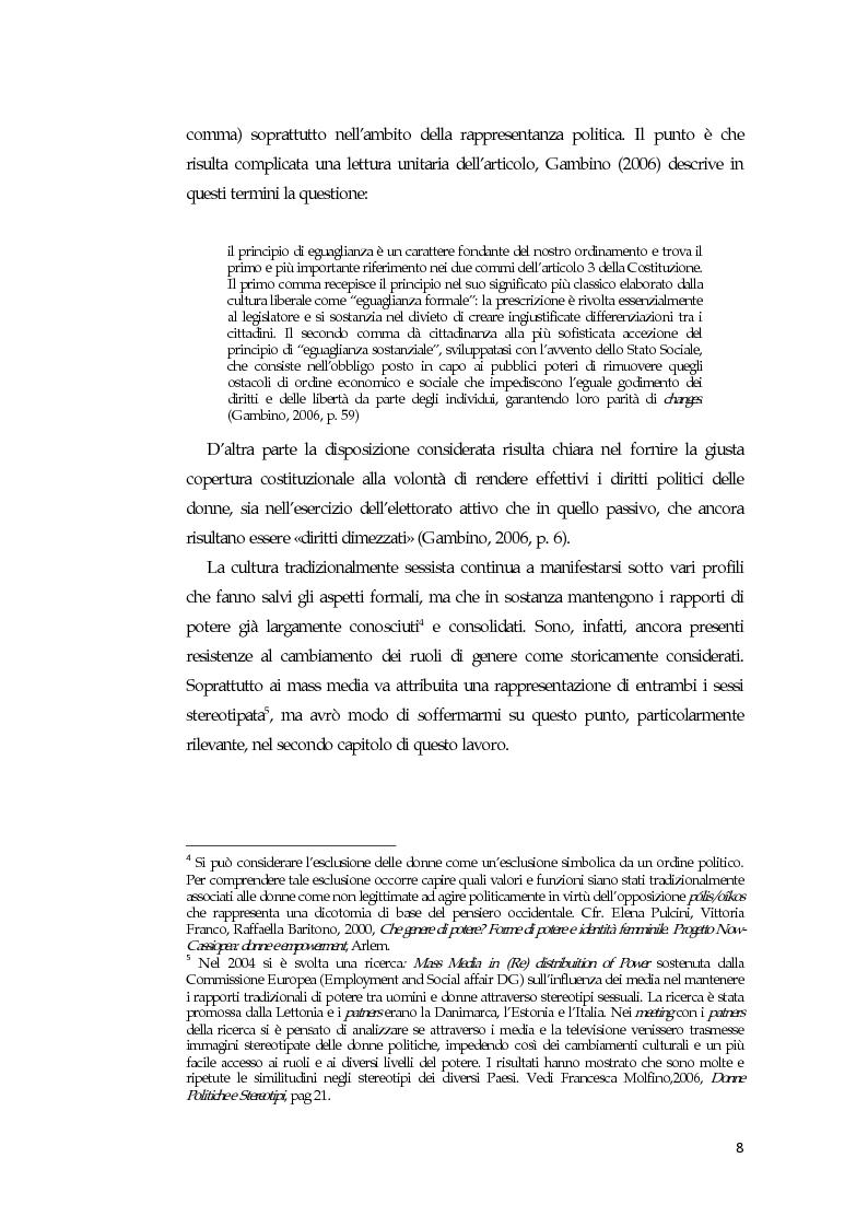 Anteprima della tesi: La comunicazione mediatica delle donne in politica: quali spazi e quali linguaggi, Pagina 4