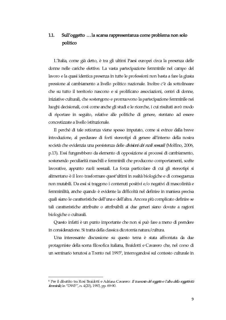 Anteprima della tesi: La comunicazione mediatica delle donne in politica: quali spazi e quali linguaggi, Pagina 5