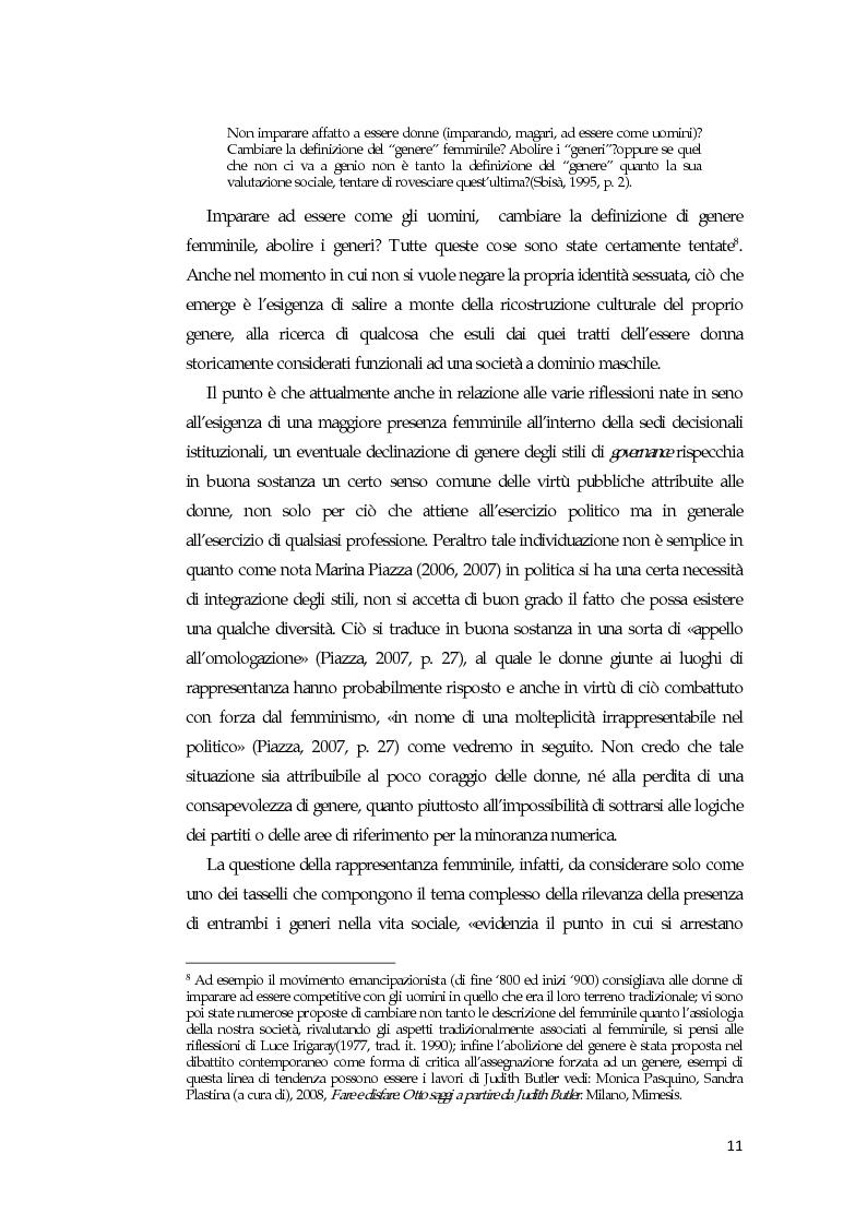 Anteprima della tesi: La comunicazione mediatica delle donne in politica: quali spazi e quali linguaggi, Pagina 7