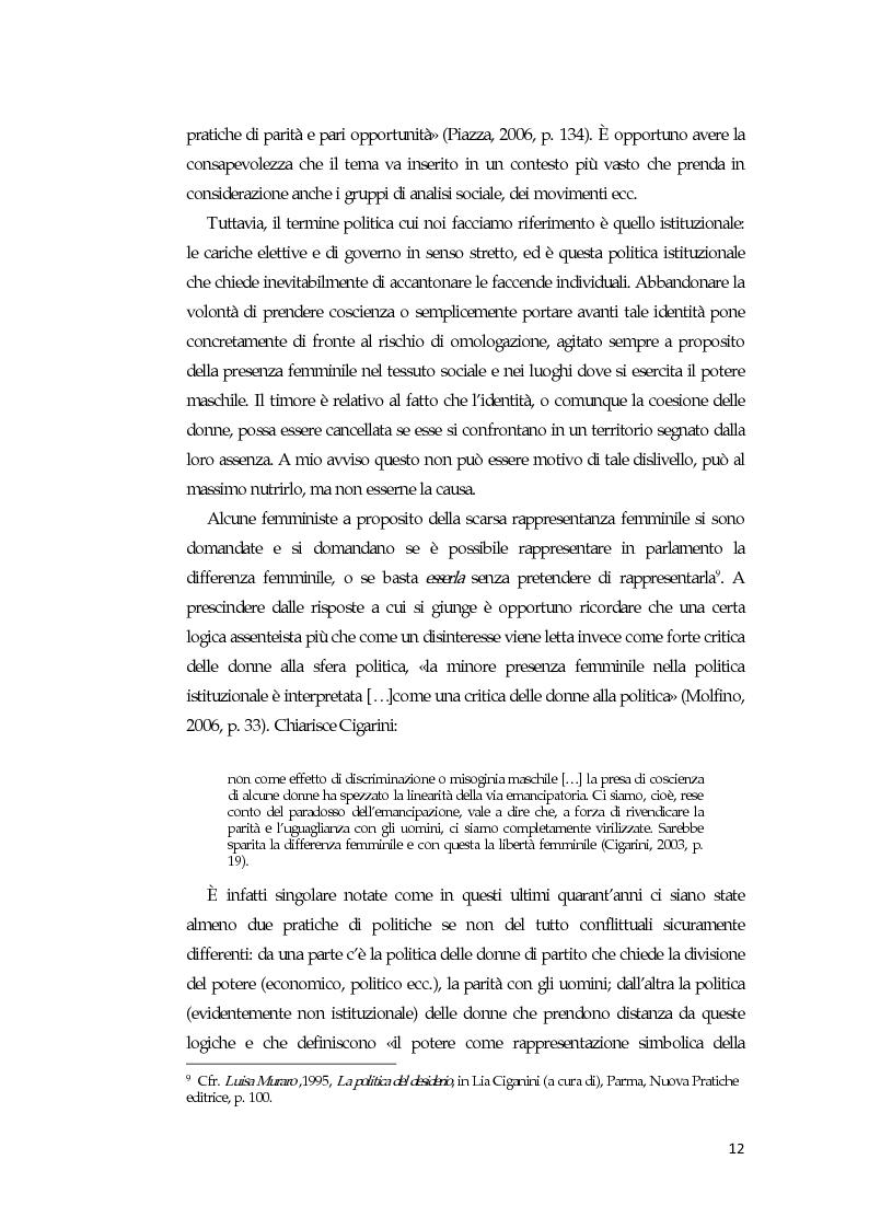 Anteprima della tesi: La comunicazione mediatica delle donne in politica: quali spazi e quali linguaggi, Pagina 8