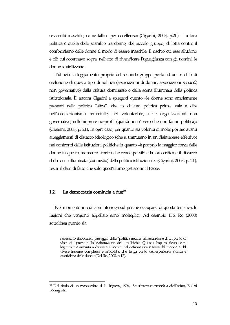 Anteprima della tesi: La comunicazione mediatica delle donne in politica: quali spazi e quali linguaggi, Pagina 9