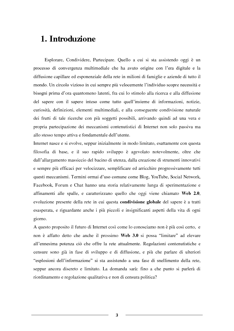 """Anteprima della tesi: La Condivisione Globale: Web 2.0, Social Networks, """"Faceboom"""", Censure e Ipotesi sul futuro della rete., Pagina 2"""