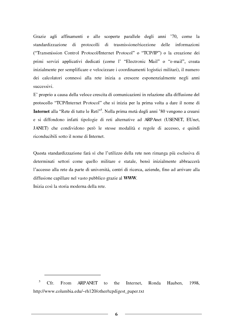 """Anteprima della tesi: La Condivisione Globale: Web 2.0, Social Networks, """"Faceboom"""", Censure e Ipotesi sul futuro della rete., Pagina 5"""