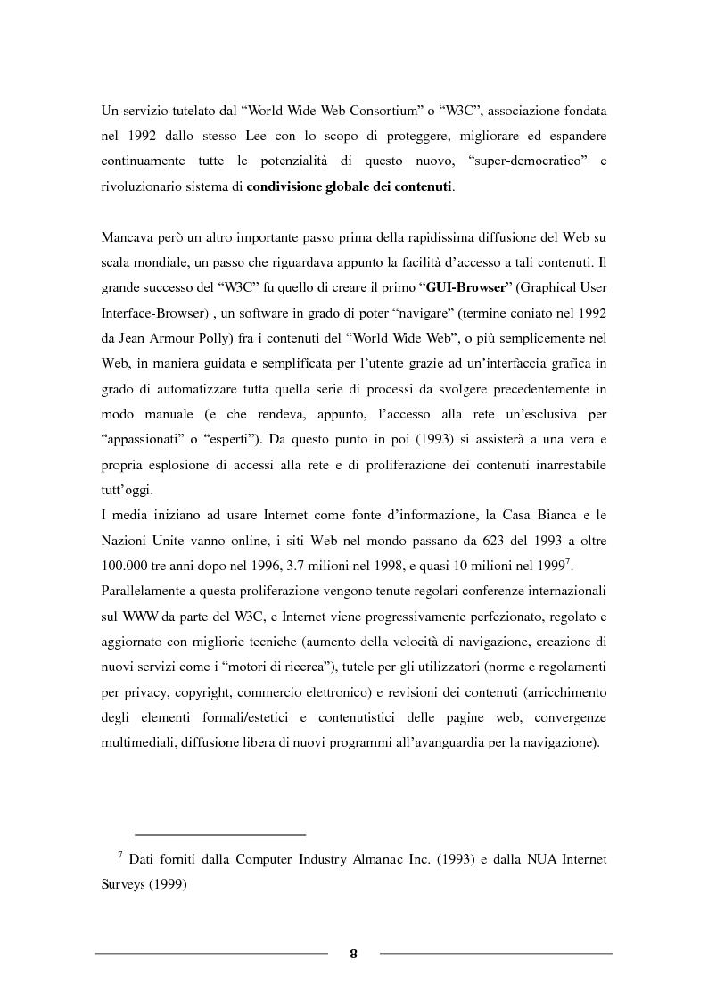 """Anteprima della tesi: La Condivisione Globale: Web 2.0, Social Networks, """"Faceboom"""", Censure e Ipotesi sul futuro della rete., Pagina 7"""