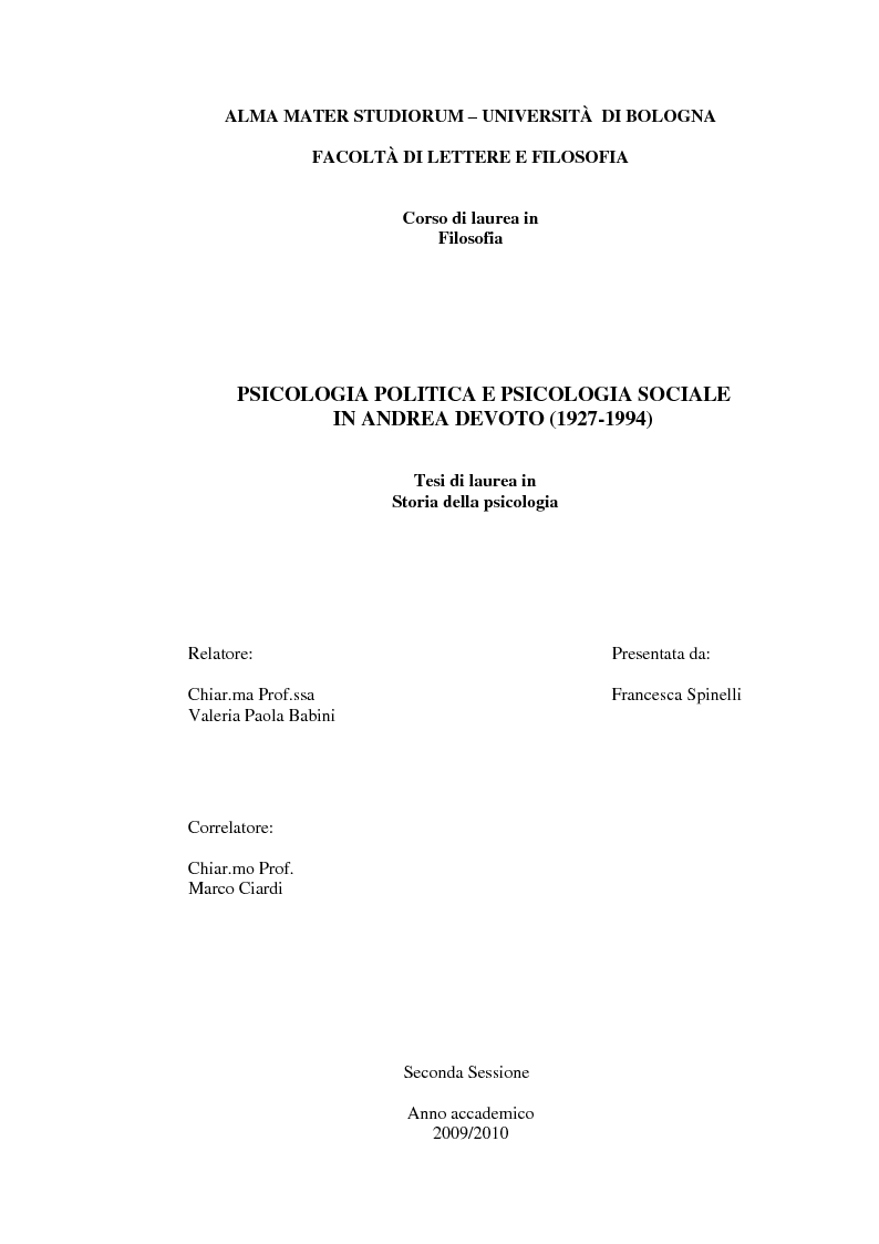 Anteprima della tesi: Psicologia politica e psicologia sociale in Andrea Devoto (1927-1994), Pagina 1
