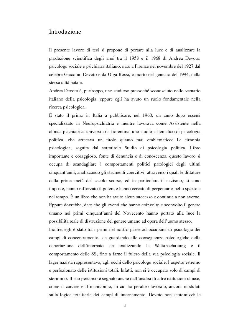 Anteprima della tesi: Psicologia politica e psicologia sociale in Andrea Devoto (1927-1994), Pagina 2