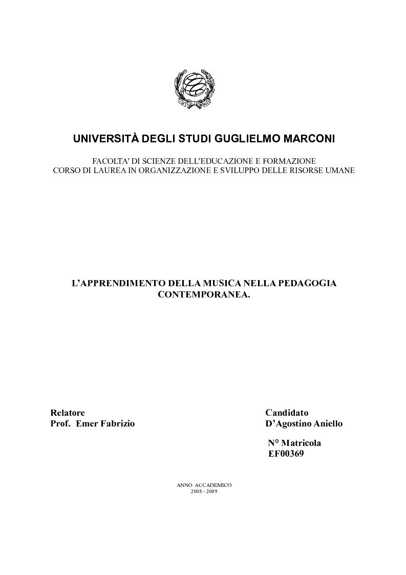 Anteprima della tesi: L'apprendimento della musica nella pedagogia contemporanea., Pagina 1