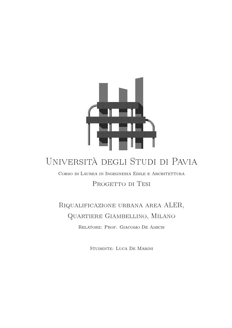Anteprima della tesi: Riqualificazione urbana area ALER, Quartiere Giambellino, Milano, Pagina 1