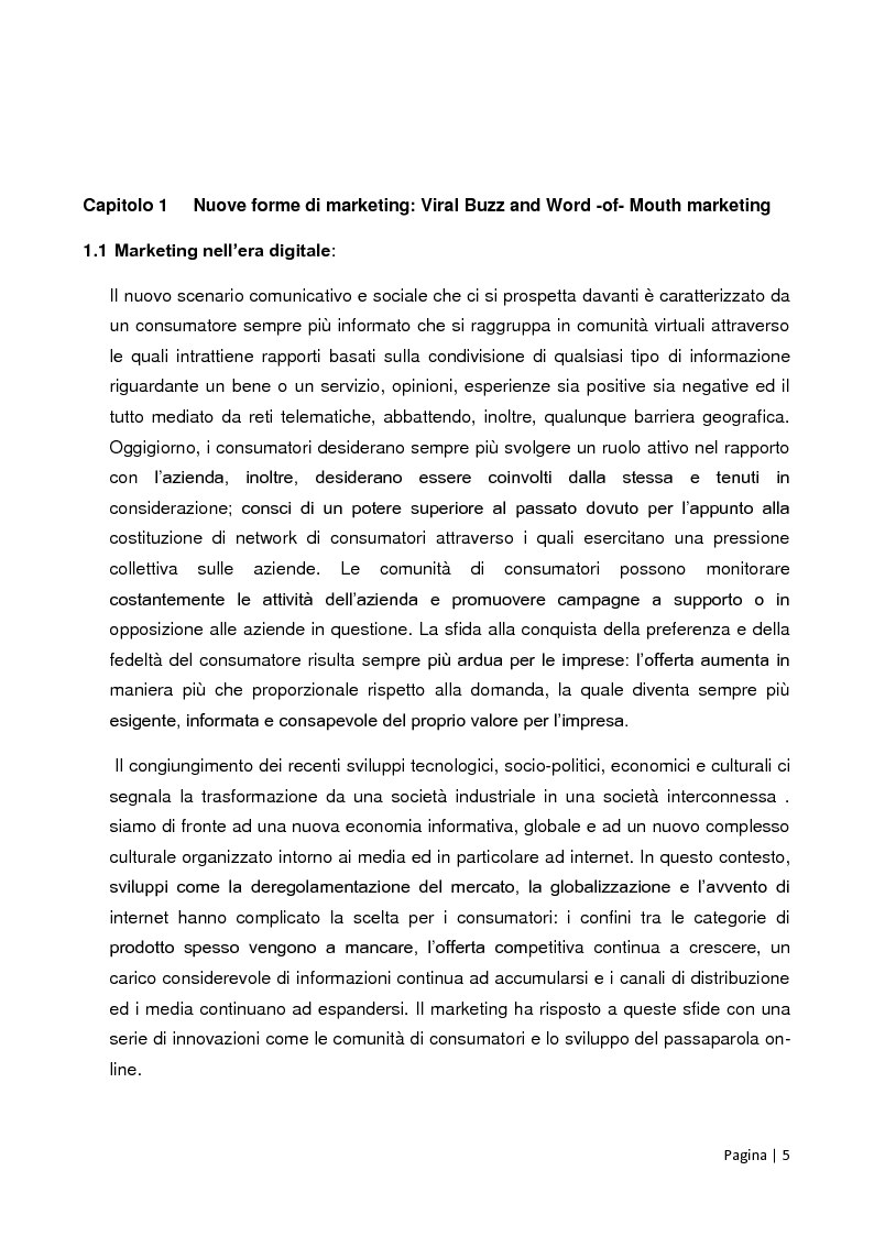 Anteprima della tesi: Viral, Buzz e Word -of- Mouth marketing: fondamenti teorici ed evidenze empiriche del caso Facebook Advertising, Pagina 2