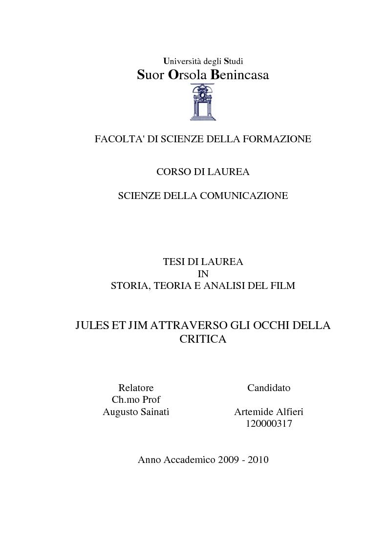 Anteprima della tesi: Jules et Jim attraverso gli occhi della critica, Pagina 1