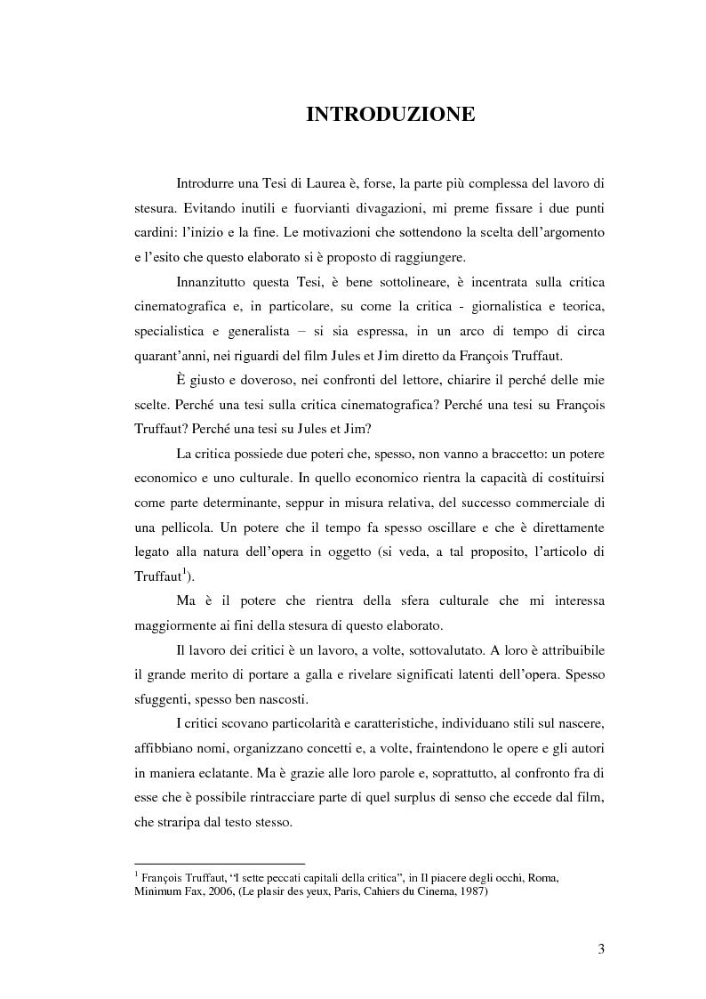 Jules et Jim attraverso gli occhi della critica - Tesi di Laurea