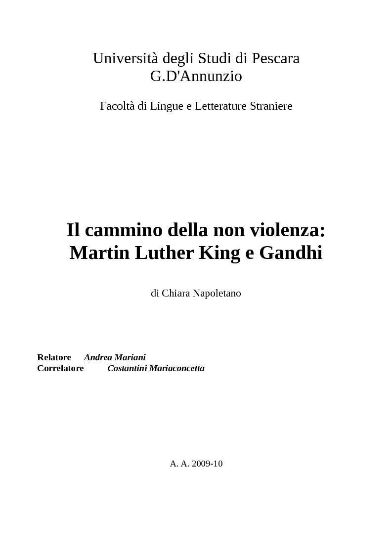 Anteprima della tesi: Il cammino della non violenza: Martin Luther King e Gandhi, Pagina 1