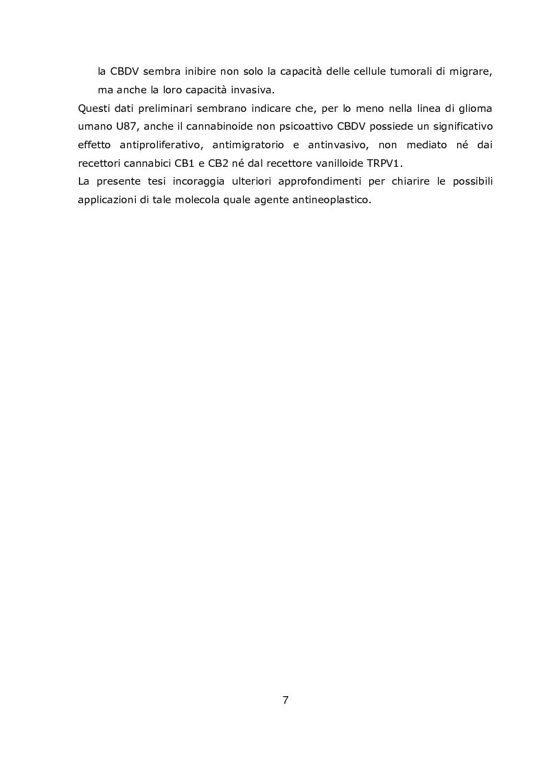 Anteprima della tesi: Effetto della Cannabidivarina, componente non psicoattiva della marijuana, sulla proliferazione, migrazione e invasione di una linea di glioma U87, Pagina 4