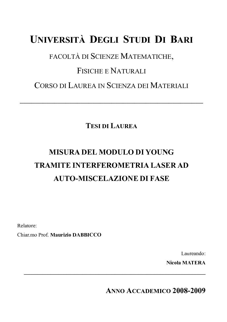 Anteprima della tesi: Misura del modulo di Young tramite interferometria per auto-miscelazione di fase, Pagina 1