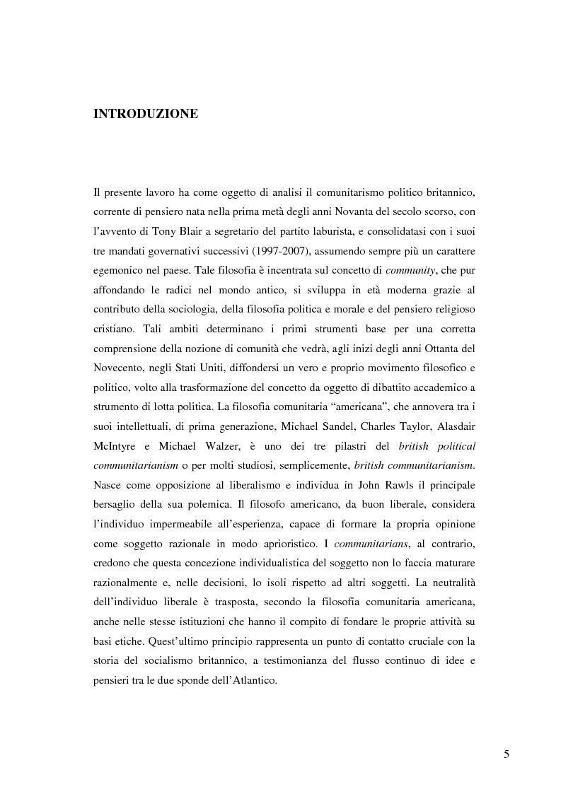 Anteprima della tesi: La nascita e lo sviluppo del comunitarismo politico nella Gran Bretagna del New Labour, Pagina 2