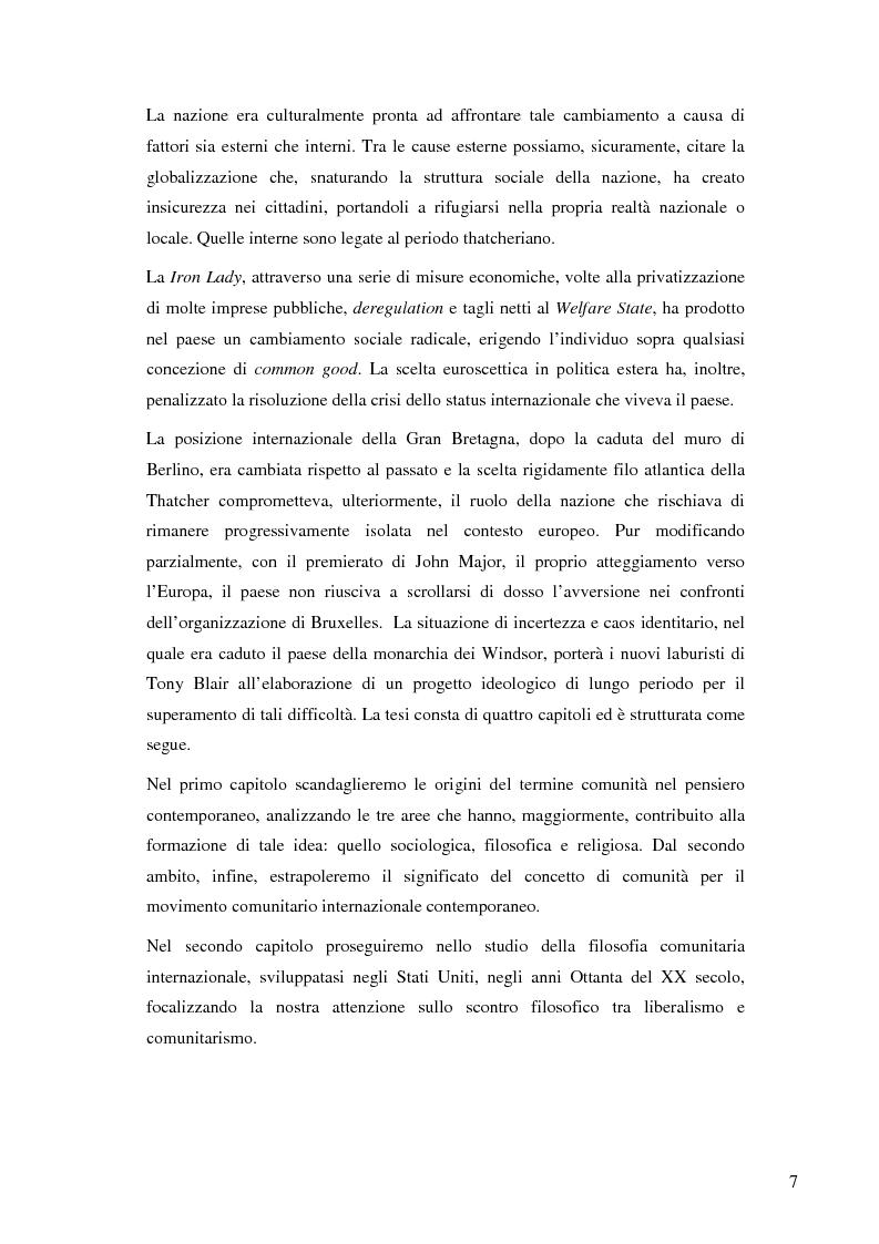 Anteprima della tesi: La nascita e lo sviluppo del comunitarismo politico nella Gran Bretagna del New Labour, Pagina 4