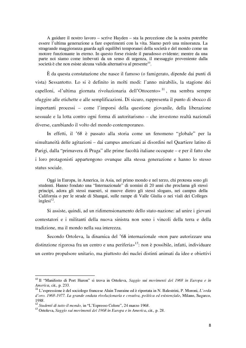 Anteprima della tesi: Contestazione studentesca e opinione pubblica tra il 1968 e il 1977, Pagina 3
