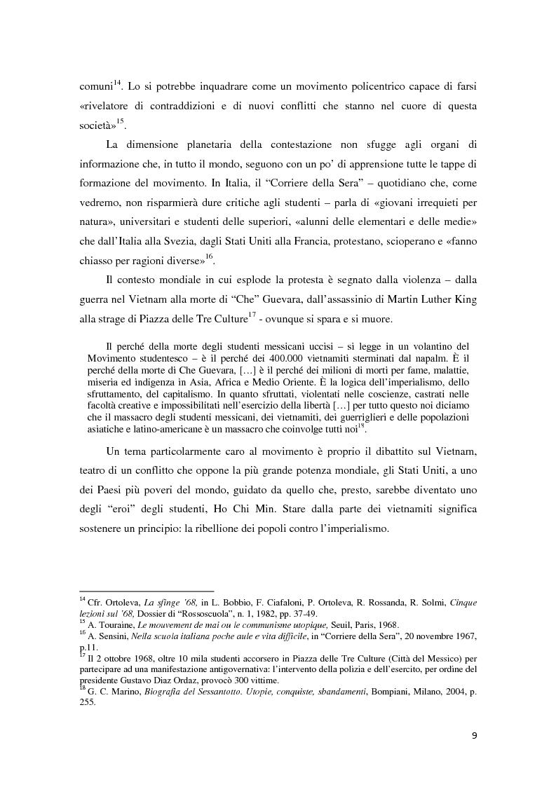 Anteprima della tesi: Contestazione studentesca e opinione pubblica tra il 1968 e il 1977, Pagina 4
