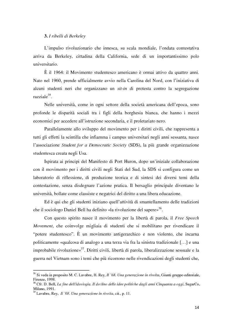 Anteprima della tesi: Contestazione studentesca e opinione pubblica tra il 1968 e il 1977, Pagina 9